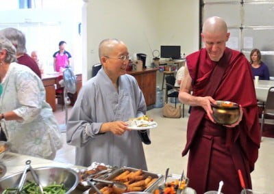 Ven. Jenying advises how to use the alms bowl.