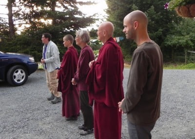 The whole community—including the Exploring Monastic Life guests—turns out early in the morning to send Brian off.