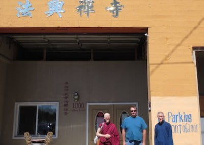 They arrive at Fa-Sheng Temple in Seattle where the ordination will take place.
