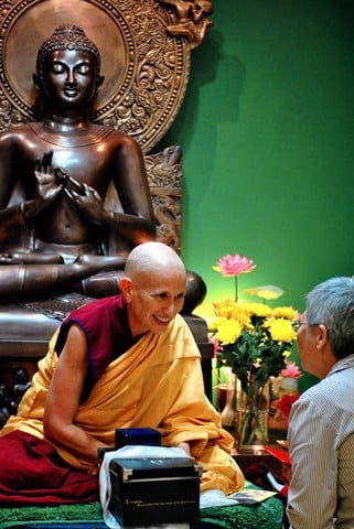Venerable Chodron receives a well-wisher at Buddhist Library.