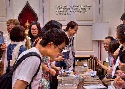 Friends of Sravasti Abbey-Singapore do a terrific job of organizing <br> these talks and making Venerable's books and Abbey materials available to everyone.