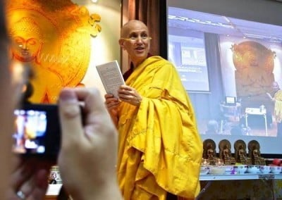 Venerable Chodron leads recitations at the Buddhist Fellowship retreat.