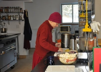 Venerable Samten takes her turn at making lunch for the retreat.