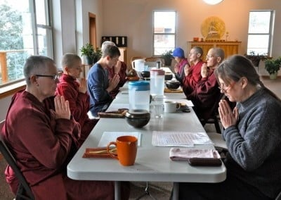 Chanting before meals brings our thoughts to the kindness of others.