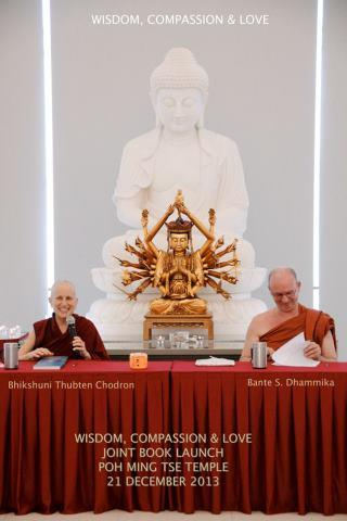 Back in Singapore, Venerable Chodron and Venerable Dhammika share the podium at Poh Ming Tse to celebrate their new books.