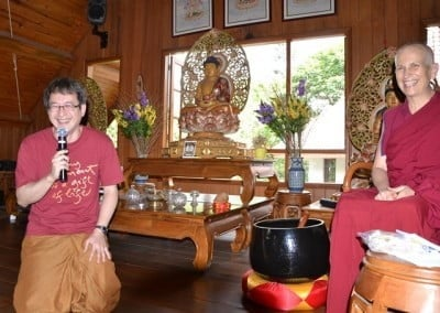 Taruna, one of the organizers of the Indonesian tour, happily introduces Venerable Chodron to the retreatants. Most attendees are Theravada Buddhists, and this is their first-time introduction to Chenrezig, Buddha of Compassion.