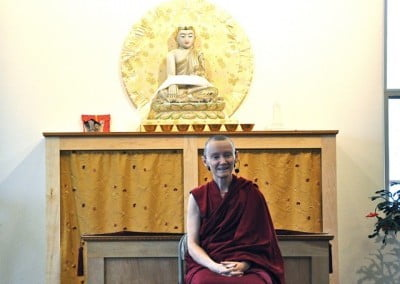 Venerable Samten gives the first Bodhisattva Breakfast Corner talk in the <br> dining room.
