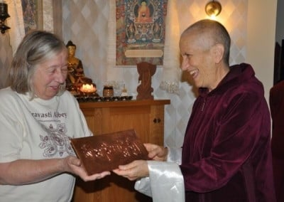 Sage gifts the Abbey with a beautiful copper plate embossed with the <br> Chenrezig mantra, Om Mani Padme Hum