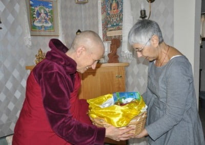 Tanya makes an offering on to Venerable Chodron
