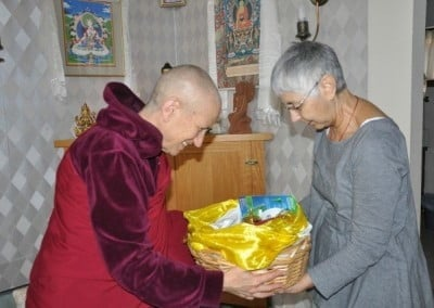 Tanya makes an offering on behalf of Dharma friend Cheryl who was unable to come to the retreat.