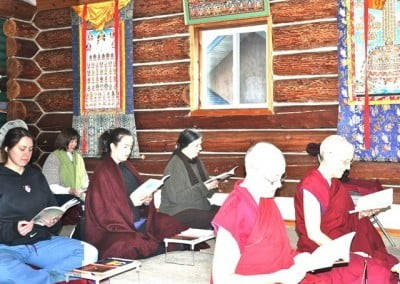 The community and guests recite Shantideva's Guide to Bodhisattva's Way of Life on Christmas Day.