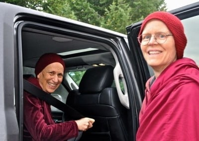 Venerable Thubten Tarpa bids farewell to Venerable Thubten Chodron, who is departing for Asia.