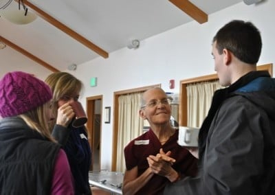 Venerable Thubten Semkye connects with Dawson, Jonnie, and Christy from Coeur d'Alene.