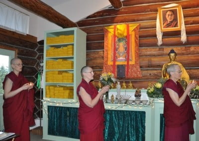 We chant the request prayer to Lama Tsongkhapa as we process around the Meditation Hall.