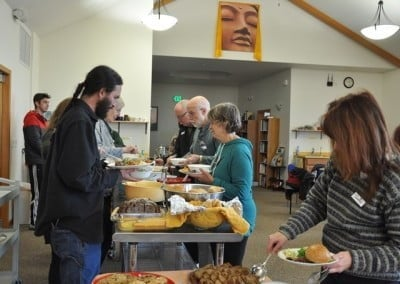 With the Dharma feeding our minds, our wonderful vegetarian potluck feeds our bodies.