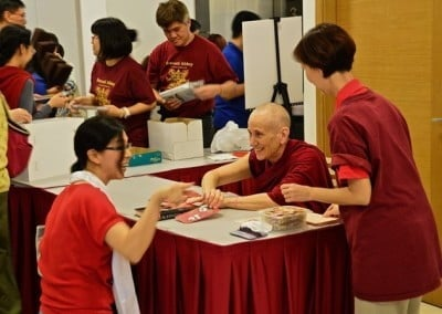 The FOSAS share Venerable Thubten Chodron's books at every venue, which she generously signs.