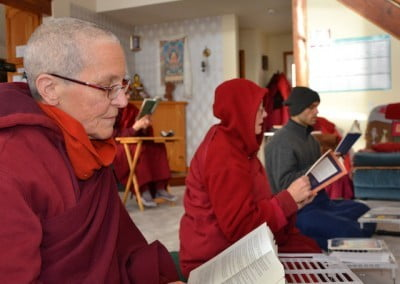With the power out, we moved the annual Christmas Day reading of Guide to a Bodhisattva's Way of Life to the wood-heated Ananda Hall.