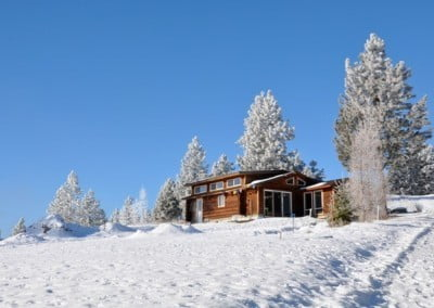 The meditation hall on top of a snowy hill