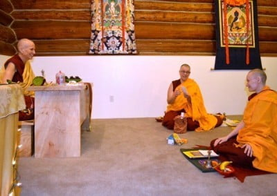 Buddhist nuns in the meditation hall