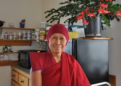Venerable Dronsel, from Gaden Samten Ling in Edmonton, Alberta, has joined <br> us for the 7-week retreat. Her wish to practice at the Abbey finally comes to fruition!