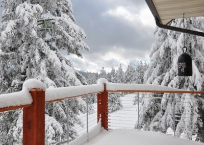 Snow covered the Chenrezig Hall deck. All the trees and grounds are covered with snow.