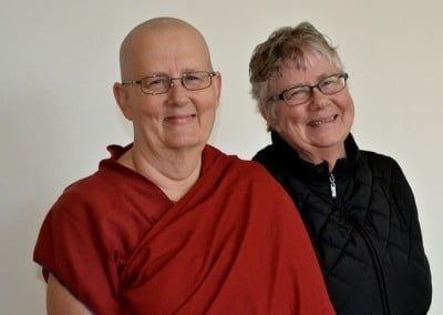 Friends in the Dharma; Venerable Thubten Jigme and her sister Doris do retreat together.