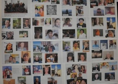 Photos of our 215 retreatants from afar—including 84 incarcerated men—adorn the back wall of the Meditation Hall. We wish all of you well each day.