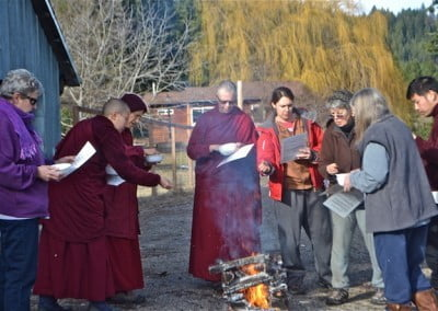 All our negativities and karmic imprints are offered to Dorje Khadro, who enjoys them and experiences great bliss.