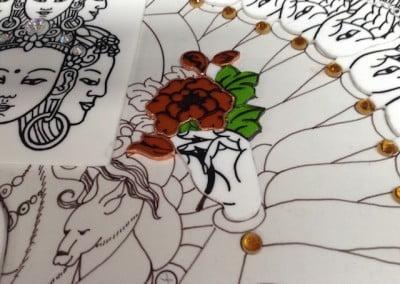 Close-up of artwork.