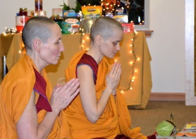 Buddhist nuns with folded hands