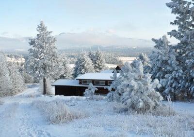 A snow covered meditation hall