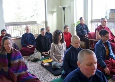 "The Vajrasattva retreatants use the Gotami library as their ""meditation hall."""