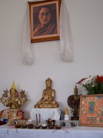 One of the lovely altars set up for the Six Session Guru Yoga meditation rooms.