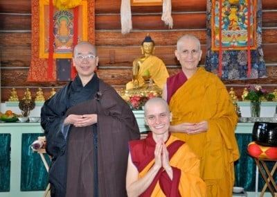 Venerable Chodron, Venerable Jendy, and our new nun, Venerable Thubten Jampa!
