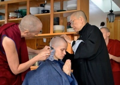 Chanting is an integral part of the head shaving ceremony. The sound of the mantra serves to calm and inspire the mind.