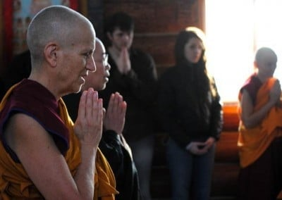 At the completion of the ordination, witnessed only by bhikshunis, the guests <br> are invited to return to the meditation hall. (Photo by Tracy Simmons)