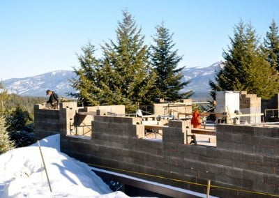 When the day is precipitation-free, the building process speeds along, and the views from the worksite are spectacular.