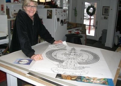 Meanwhile, our glass-artist friend Bev Brecht is starting to draw out the design for the first stained glass window in Chenrezig Hall. So exciting!