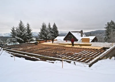 Construction of the sub-floor was not impeded by the snow.