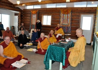 Venerable Chodron leads the retreatants in the Meditation Hall
