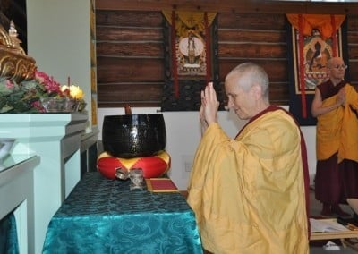 Abbess Venerable Thubten Chodron makes the traditional incense offering.