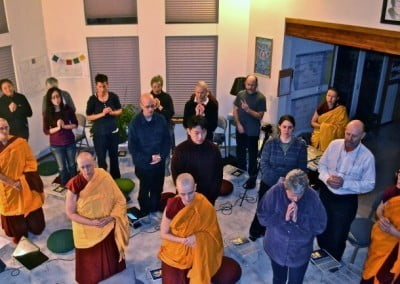 The group awaits Venerable Chodron's arrival for the Thursday night teachings on Aryadeva's 400 Stanzas.