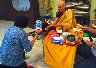"""Venerable Chodron autographed her latest book """"BUDDHISM One Teacher, Many Traditions"""" at Buddhist Fellowship."""