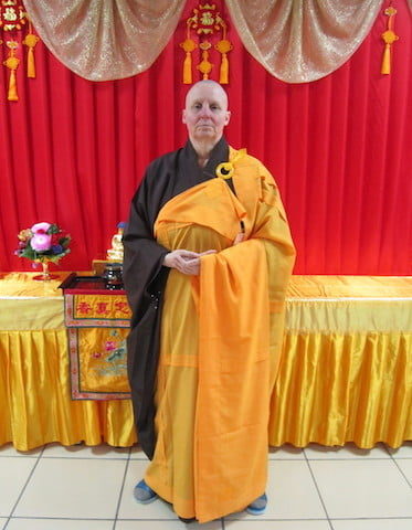 Venerable Thubten Tsultrim in her Chinese bhikshuni robes.