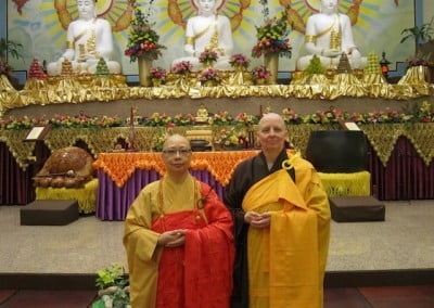 Venerable Thubten Tsultrim with her group's bhikshuni guide, Venerable Kuan Liang.