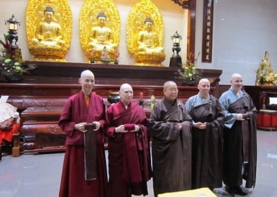 Venerable Thubten Tsultrim and the other Western bhikshuni candidates meet with the abbess of Pui-Yin Monastery