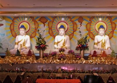 These Buddha statues are about 15 feet tall.