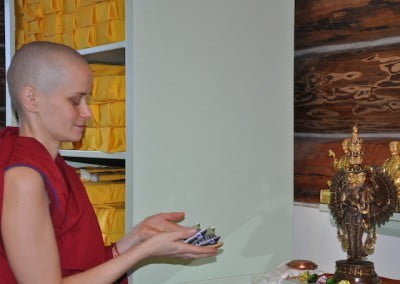 On the first morning, Venerable Jampa makes the food offering.