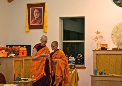 Two Buddhist nuns talking with each other