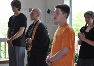 Some of the group awaits Venerable Chodron's arrival for the Thursday night teachings.